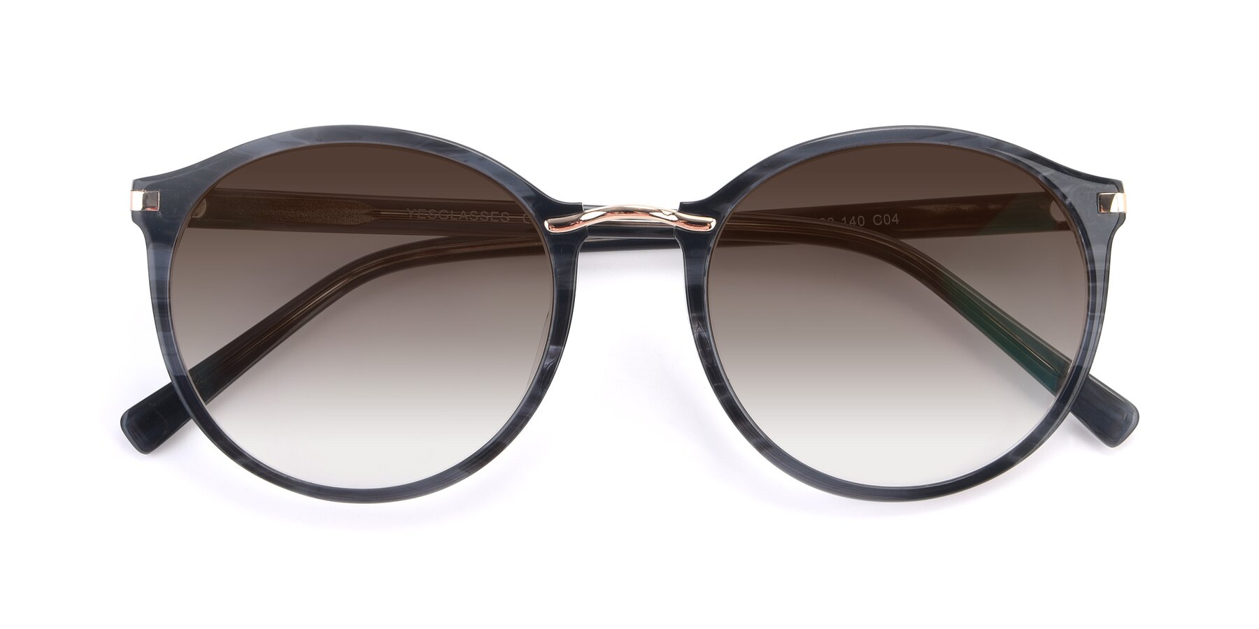 Folded Front of 17582 in Translucent Black with Brown Gradient Lenses