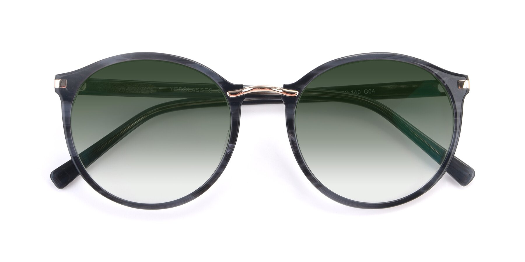 Folded Front of 17582 in Translucent Black with Green Gradient Lenses