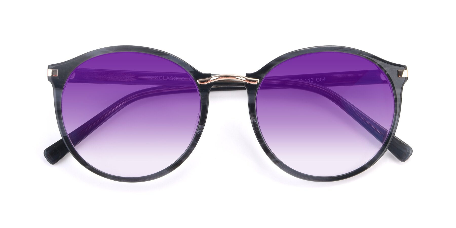Folded Front of 17582 in Translucent Black with Purple Gradient Lenses