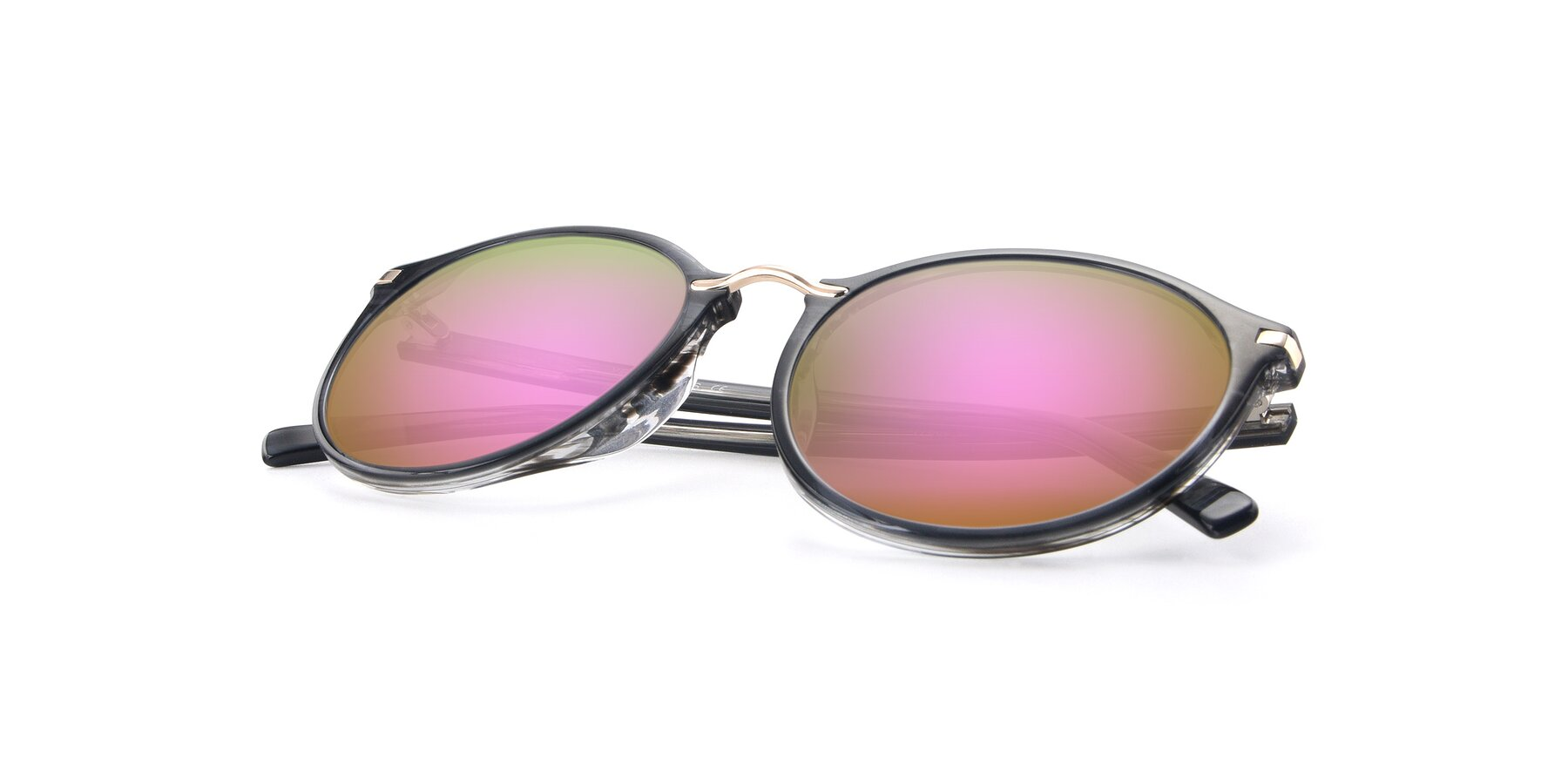 View of 17582 in Translucent Black with Pink Mirrored Lenses