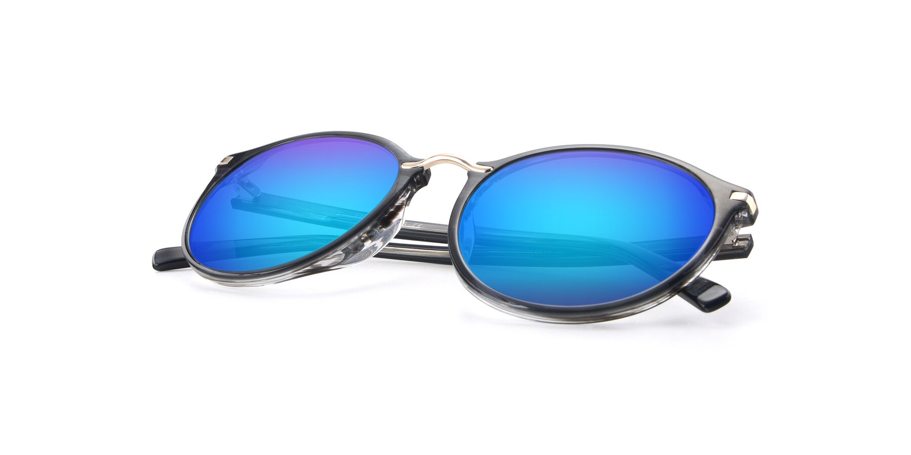 View of 17582 in Translucent Black with Blue Mirrored Lenses