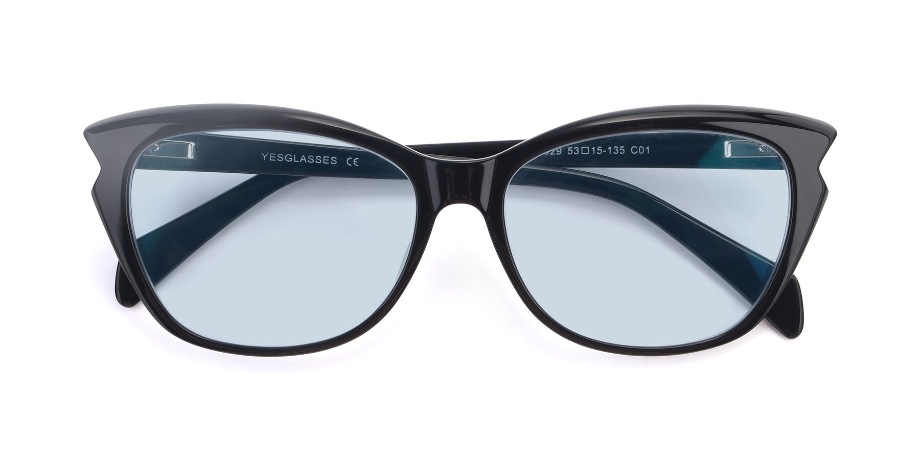 Folded Front of 17629 in Black with Light Blue Tinted Lenses