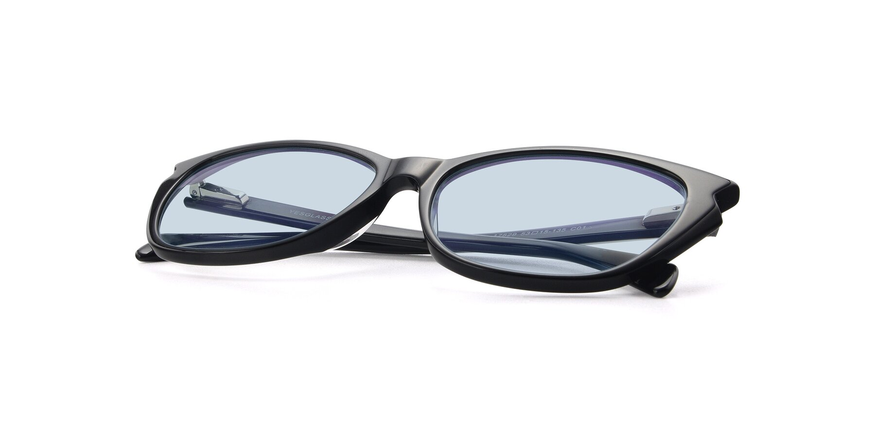 View of 17629 in Black with Light Blue Tinted Lenses