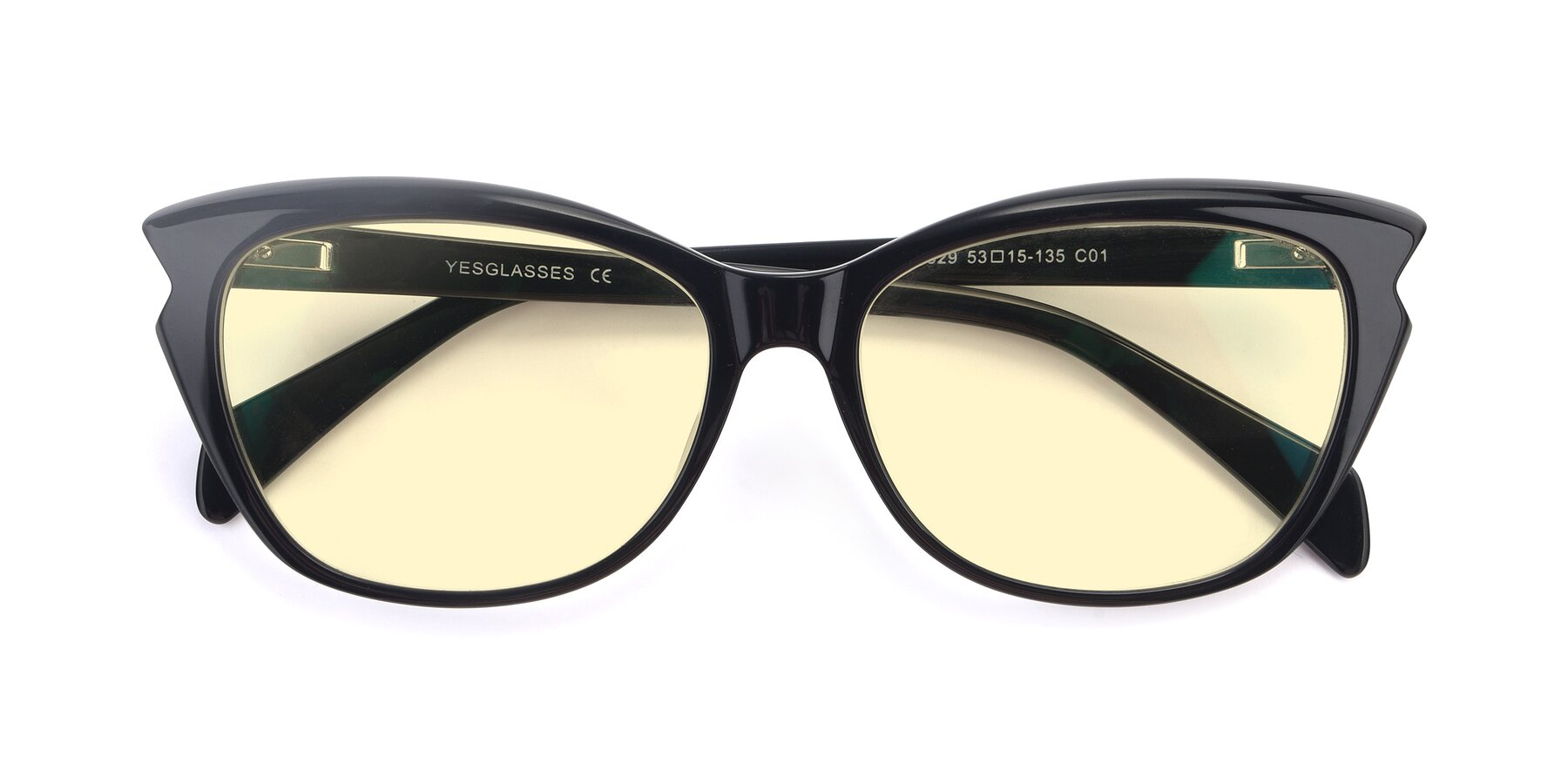Folded Front of 17629 in Black with Light Yellow Tinted Lenses