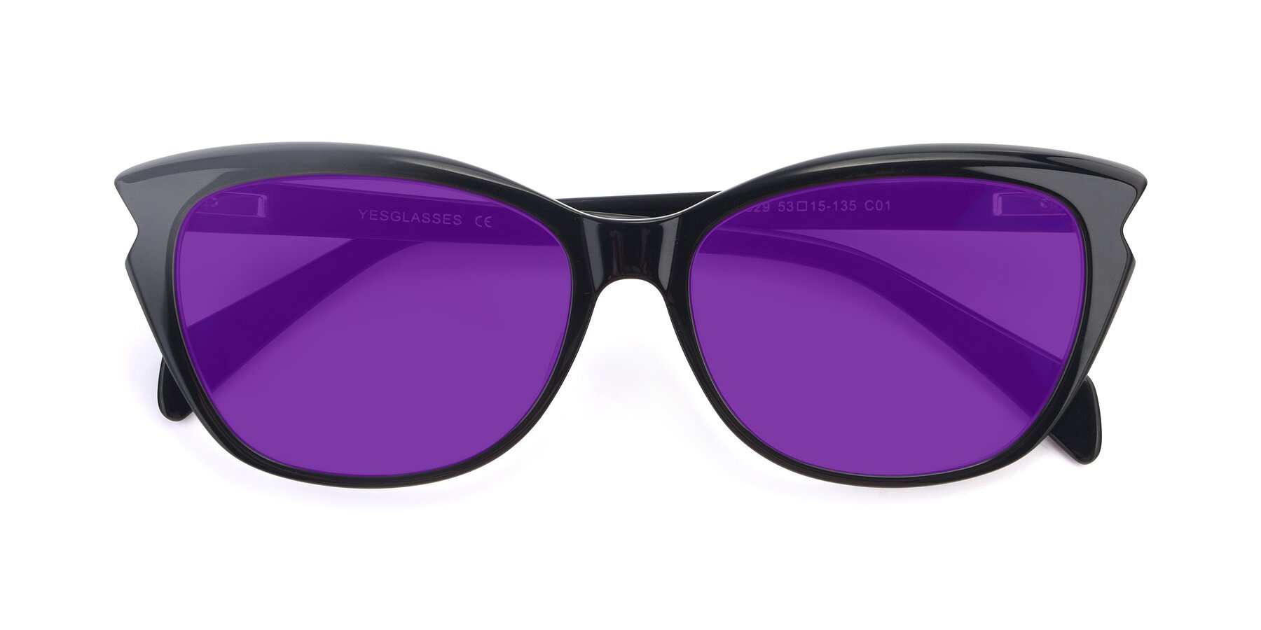 Folded Front of 17629 in Black with Purple Tinted Lenses