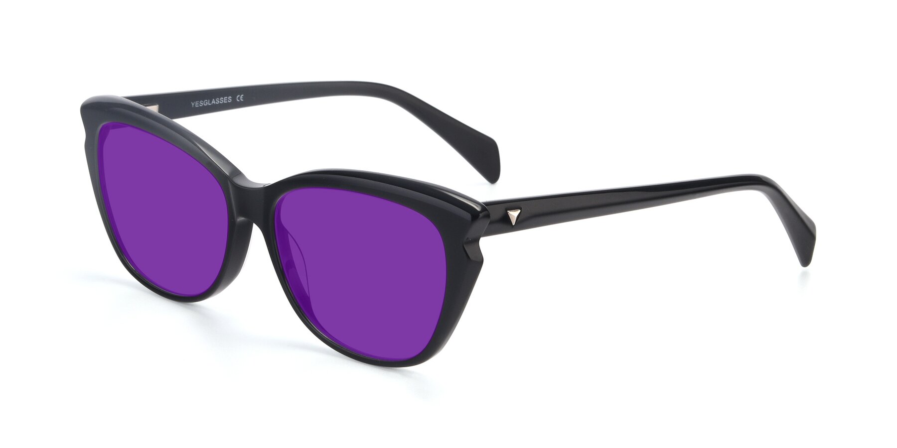 Angle of 17629 in Black with Purple Tinted Lenses