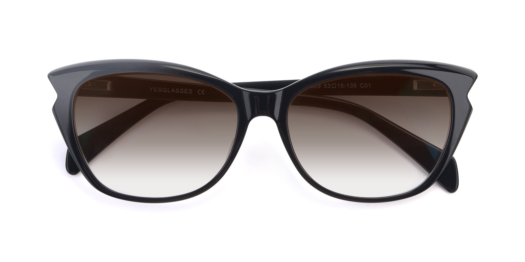 Folded Front of 17629 in Black with Brown Gradient Lenses