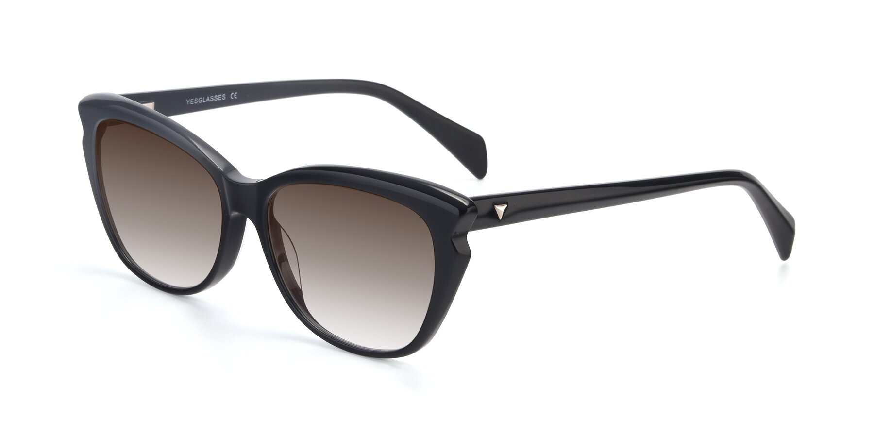 Angle of 17629 in Black with Brown Gradient Lenses