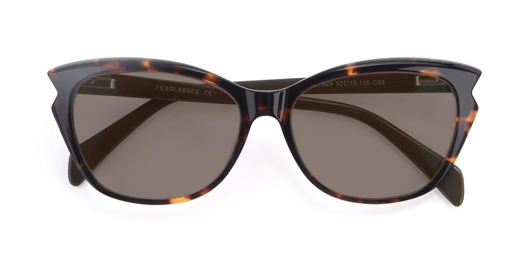 Folded Front of 17629 in Tortoise with Medium Brown Tinted Lenses