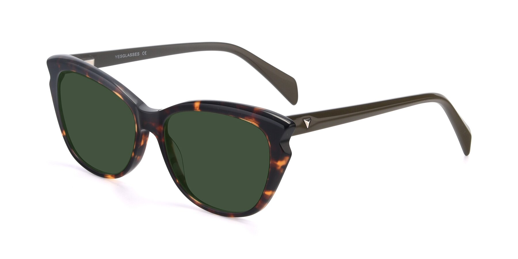 Angle of 17629 in Tortoise with Green Tinted Lenses