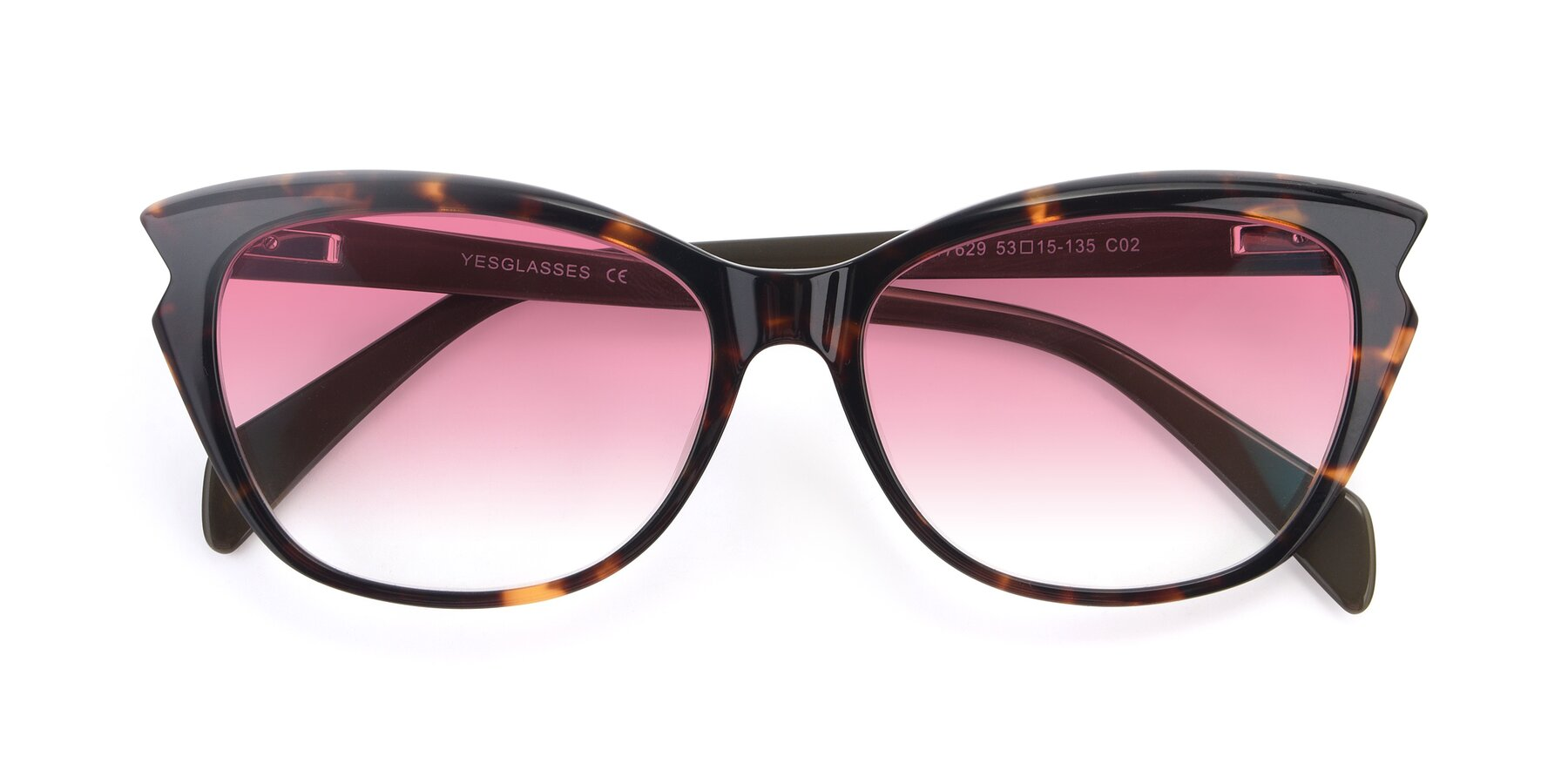 Folded Front of 17629 in Tortoise with Pink Gradient Lenses