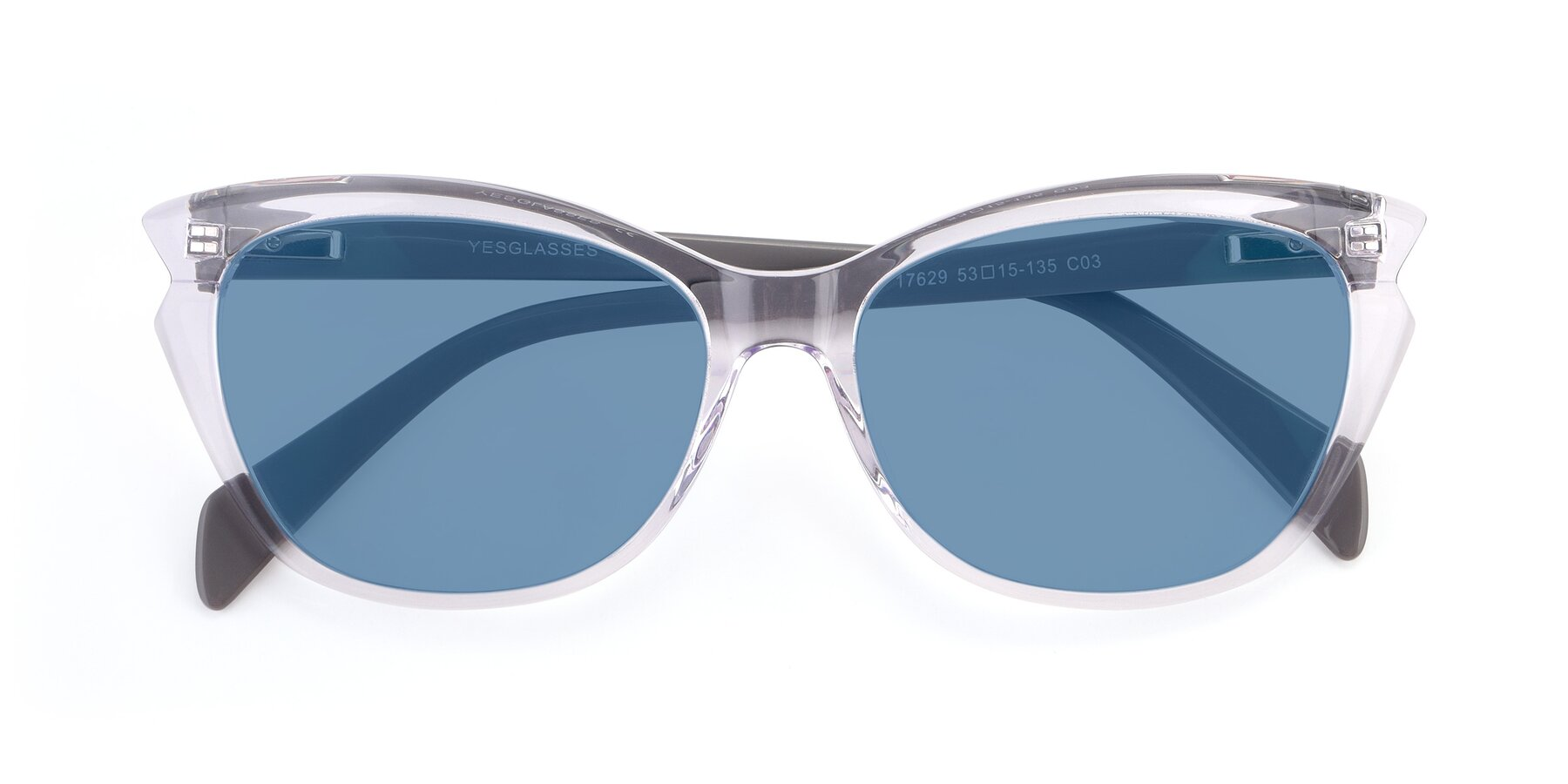 Folded Front of 17629 in Clear with Medium Blue Tinted Lenses