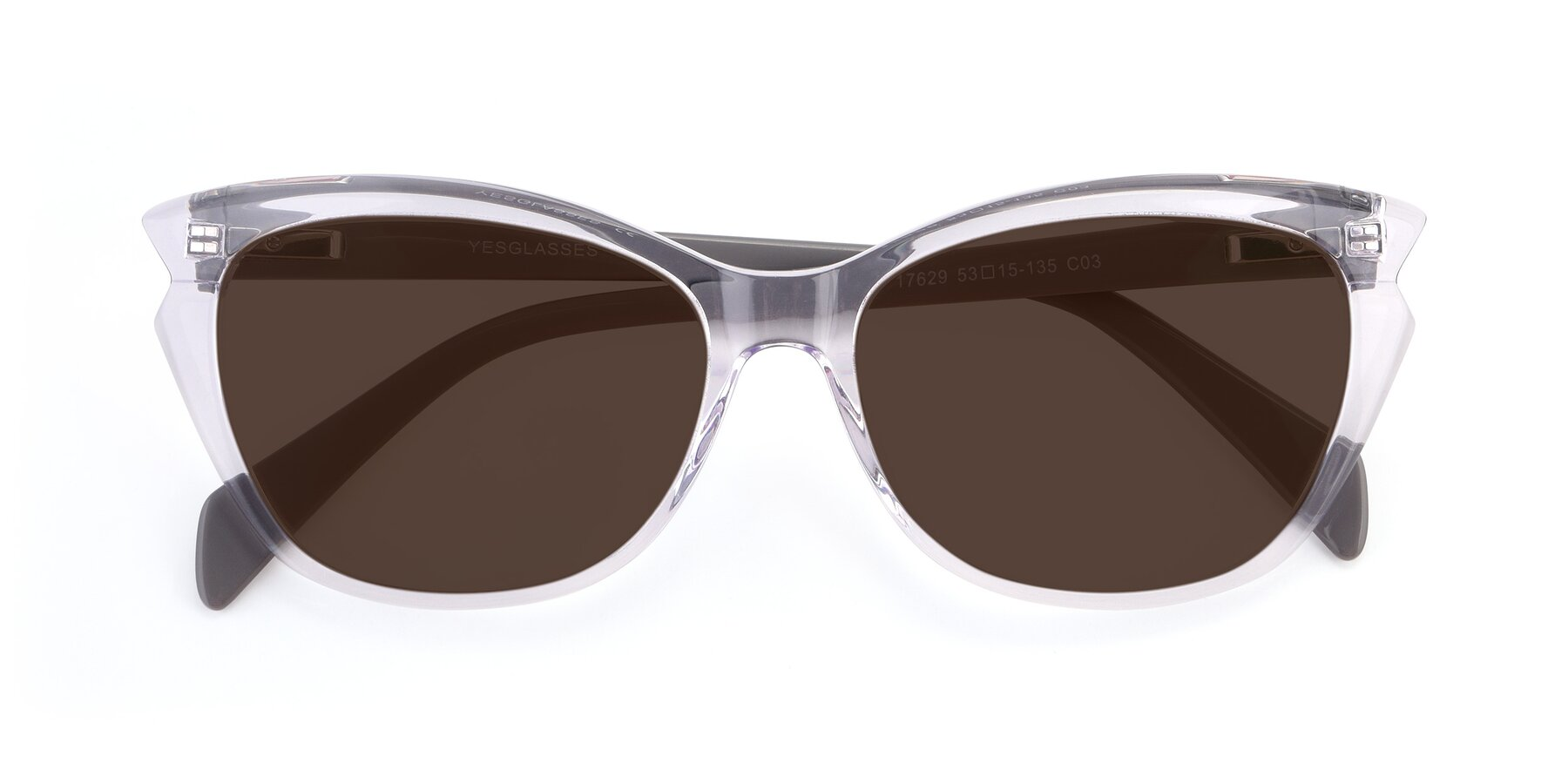 Folded Front of 17629 in Clear with Brown Tinted Lenses