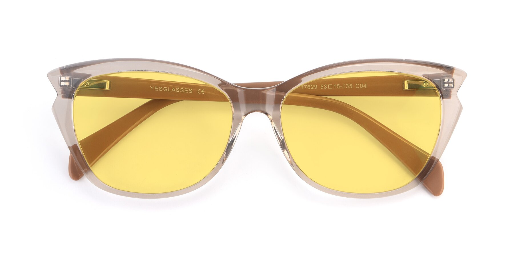 Folded Front of 17629 in Transparent Brown with Medium Yellow Tinted Lenses