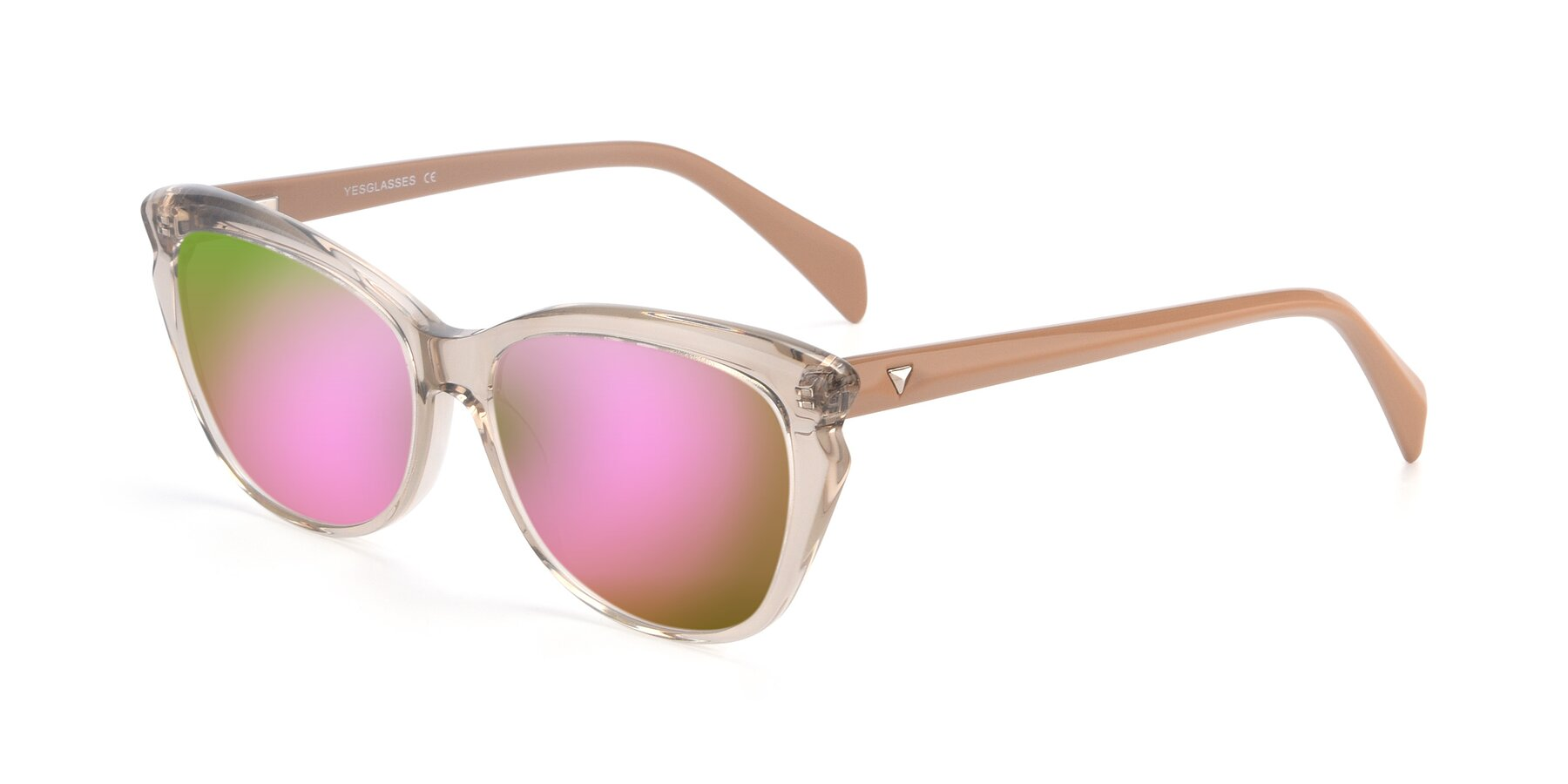 Angle of 17629 in Transparent Brown with Pink Mirrored Lenses