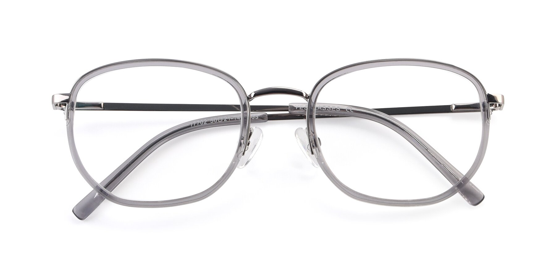 Folded Front of 17702 in Silver-Transparent with Clear Eyeglass Lenses