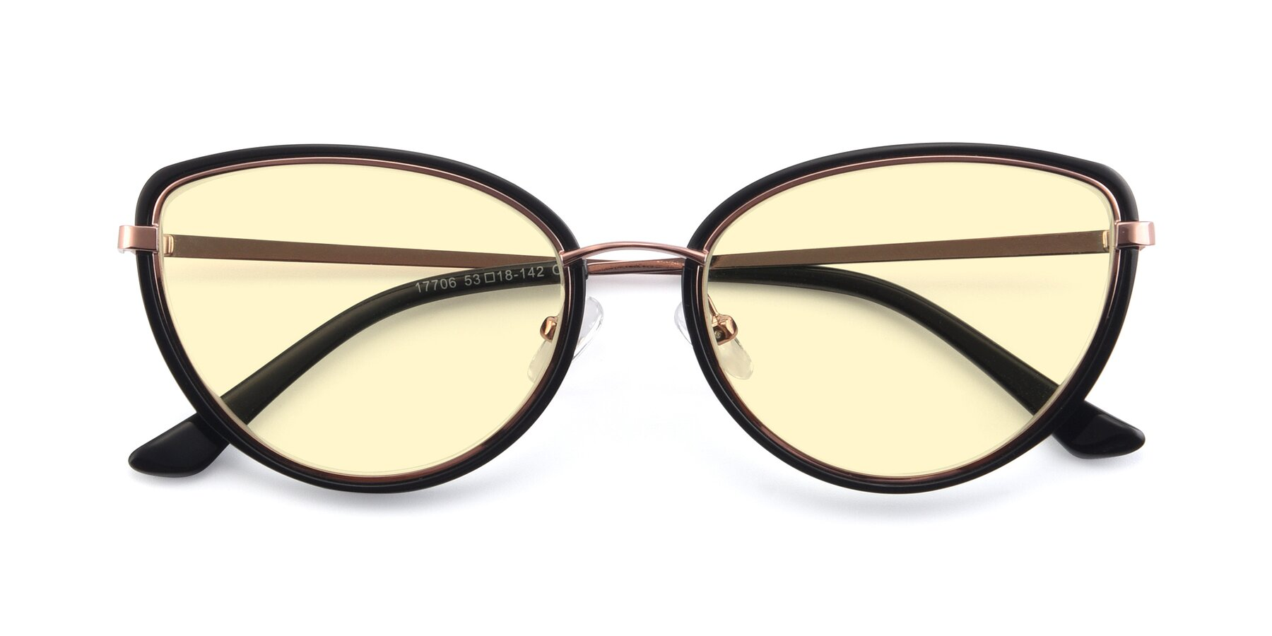 Folded Front of 17706 in Black-Rose Gold with Light Yellow Tinted Lenses