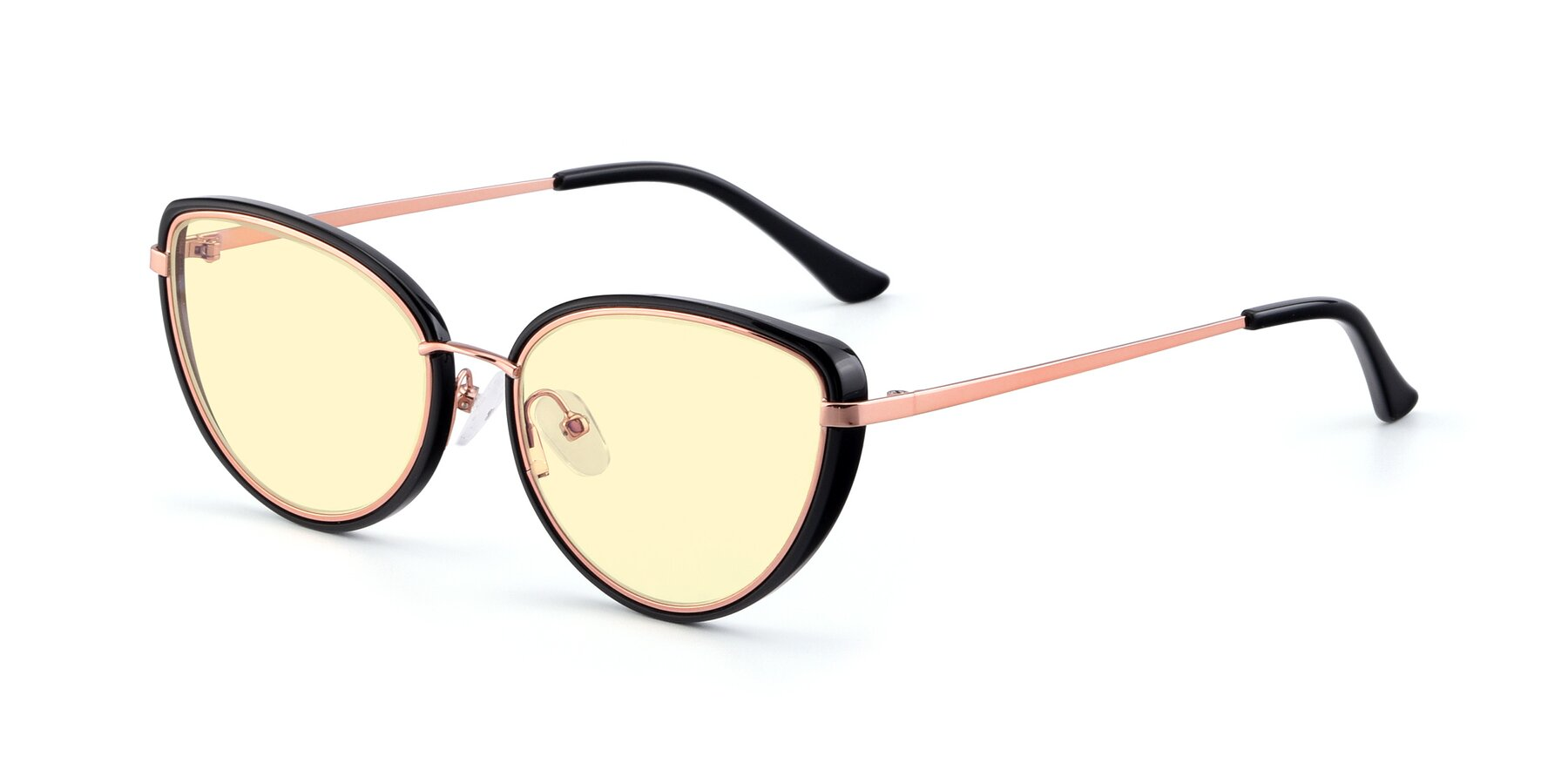 Angle of 17706 in Black-Rose Gold with Light Yellow Tinted Lenses