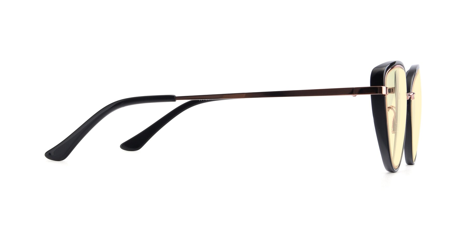 Side of 17706 in Black-Rose Gold with Light Yellow Tinted Lenses