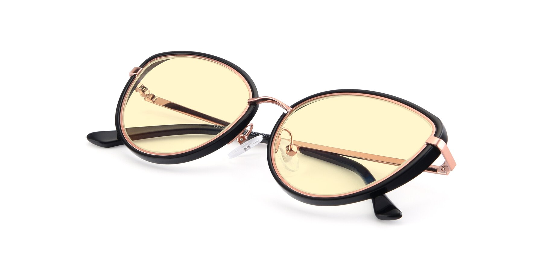View of 17706 in Black-Rose Gold with Light Yellow Tinted Lenses