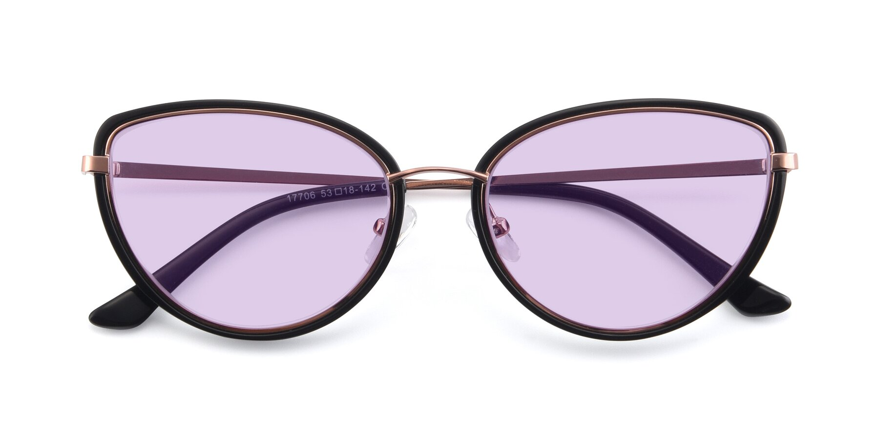 Folded Front of 17706 in Black-Rose Gold with Light Purple Tinted Lenses