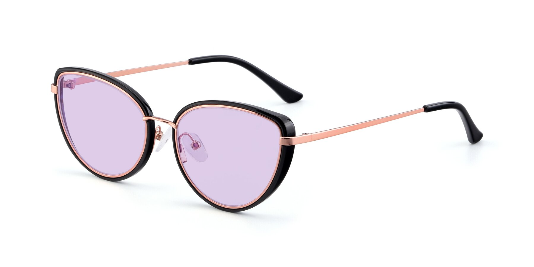 Angle of 17706 in Black-Rose Gold with Light Purple Tinted Lenses