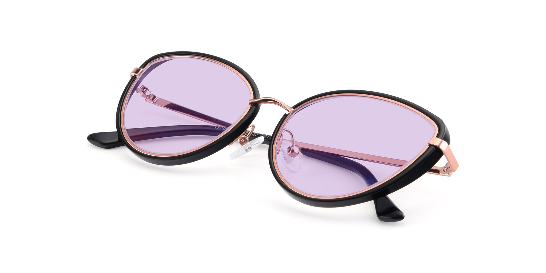 View of 17706 in Black-Rose Gold with Light Purple Tinted Lenses