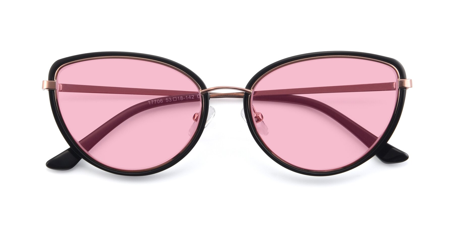 Folded Front of 17706 in Black-Rose Gold with Medium Pink Tinted Lenses
