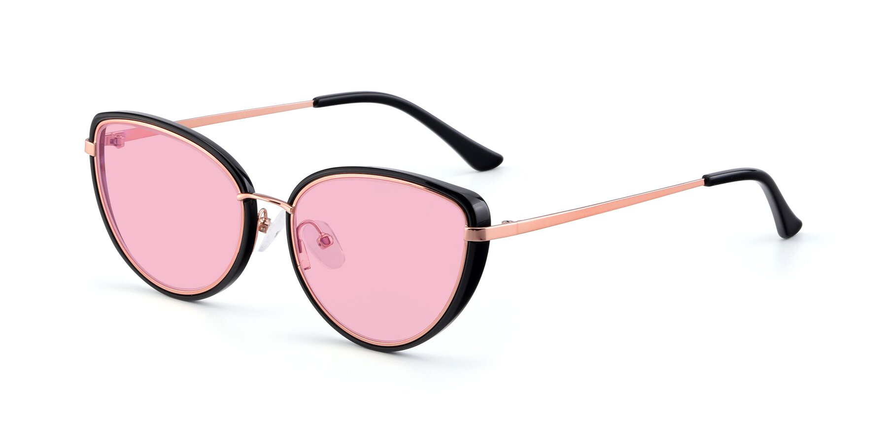 Angle of 17706 in Black-Rose Gold with Medium Pink Tinted Lenses