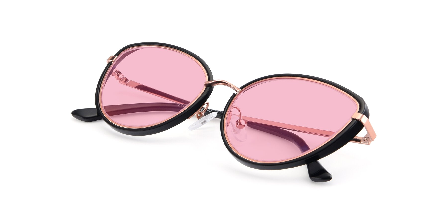 View of 17706 in Black-Rose Gold with Medium Pink Tinted Lenses
