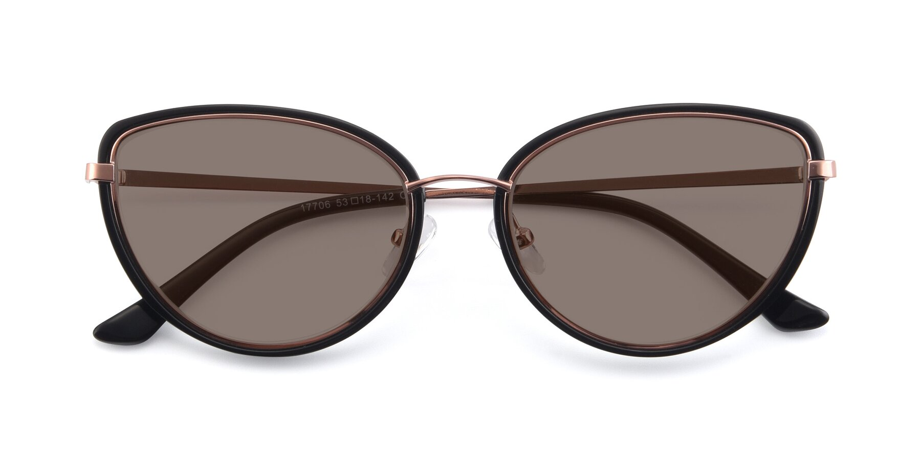Folded Front of 17706 in Black-Rose Gold with Medium Brown Tinted Lenses