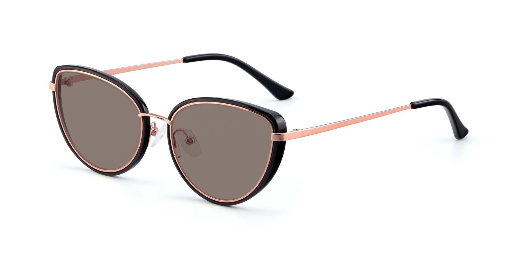 Angle of 17706 in Black-Rose Gold with Medium Brown Tinted Lenses