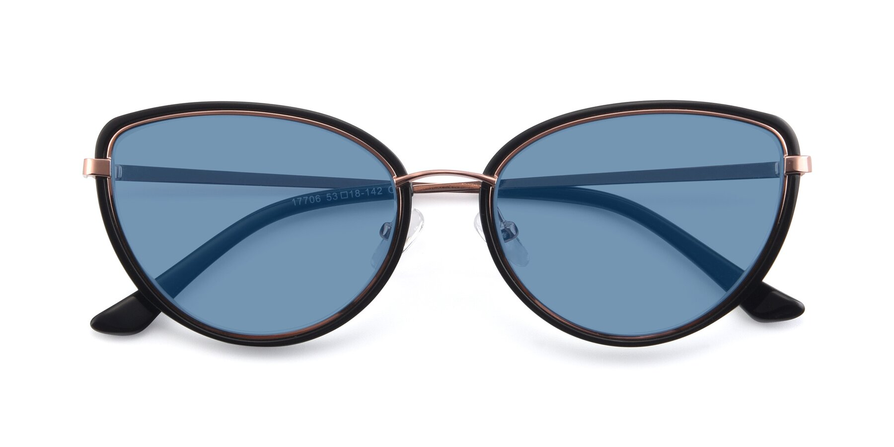 Folded Front of 17706 in Black-Rose Gold with Medium Blue Tinted Lenses