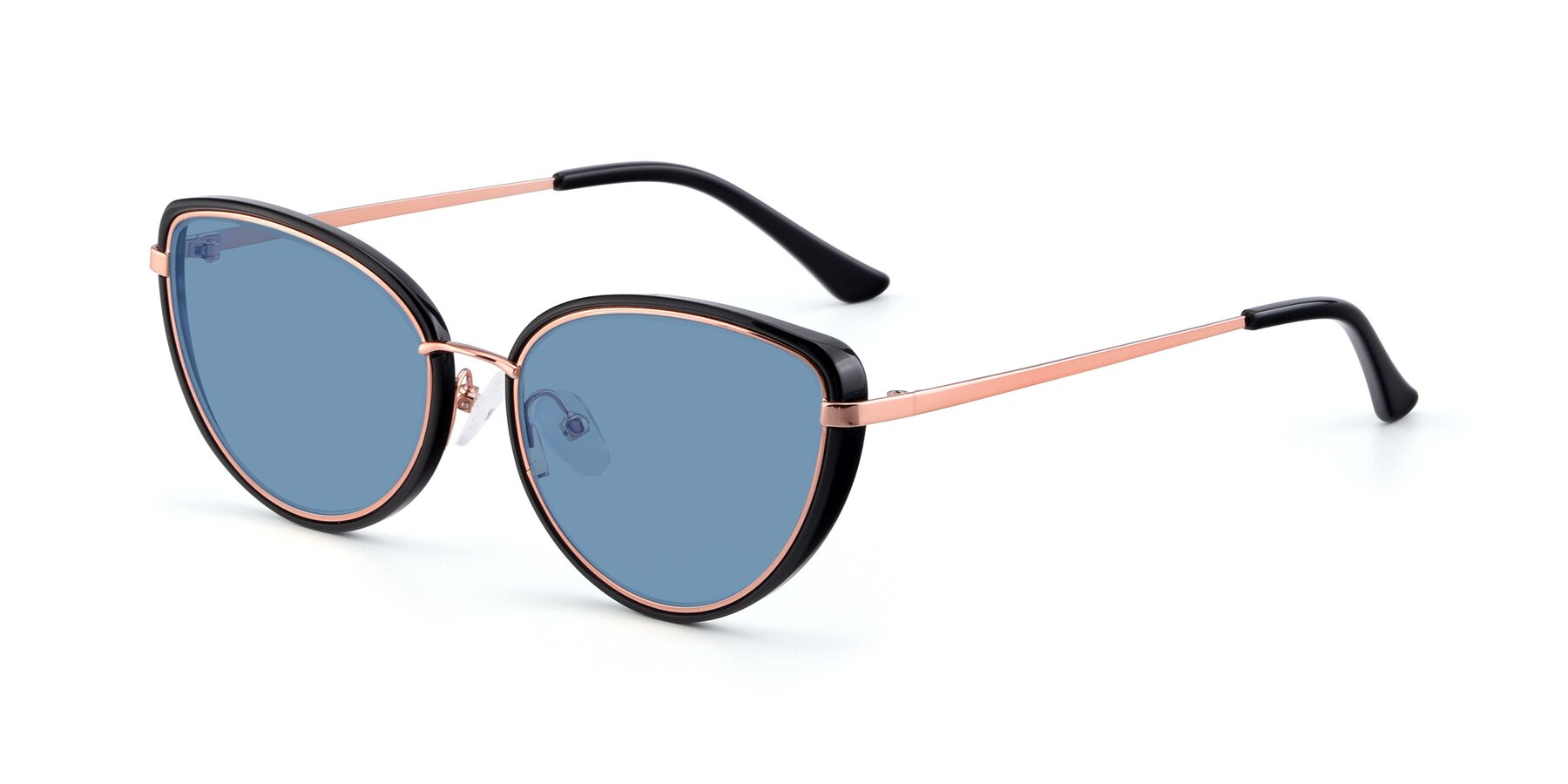 Angle of 17706 in Black-Rose Gold with Medium Blue Tinted Lenses