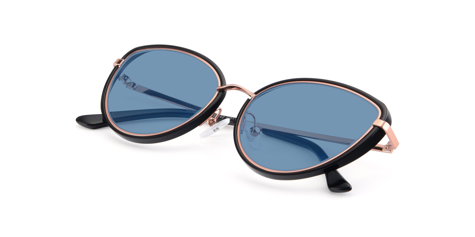View of 17706 in Black-Rose Gold with Medium Blue Tinted Lenses
