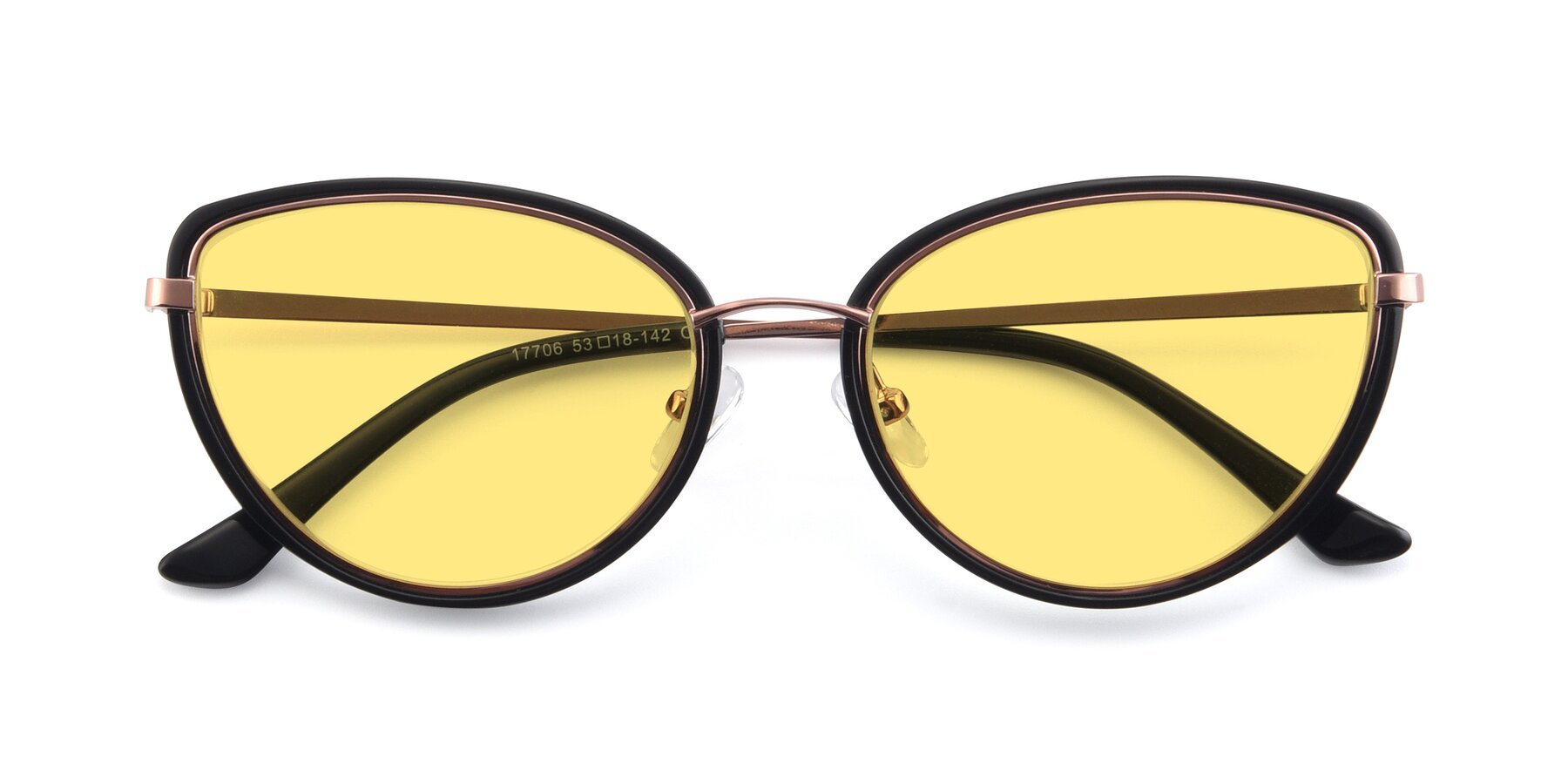 Folded Front of 17706 in Black-Rose Gold with Medium Yellow Tinted Lenses
