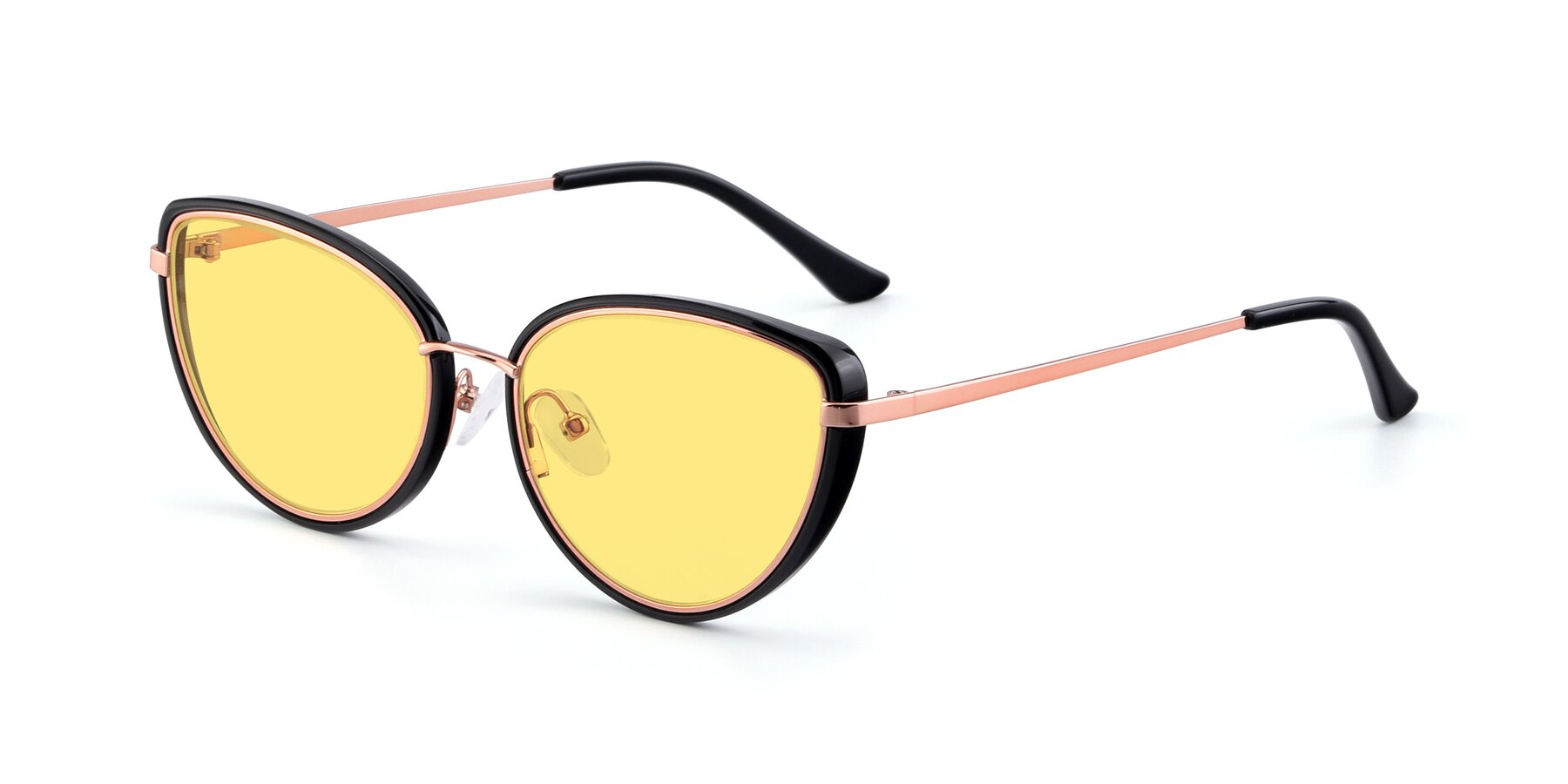 Angle of 17706 in Black-Rose Gold with Medium Yellow Tinted Lenses