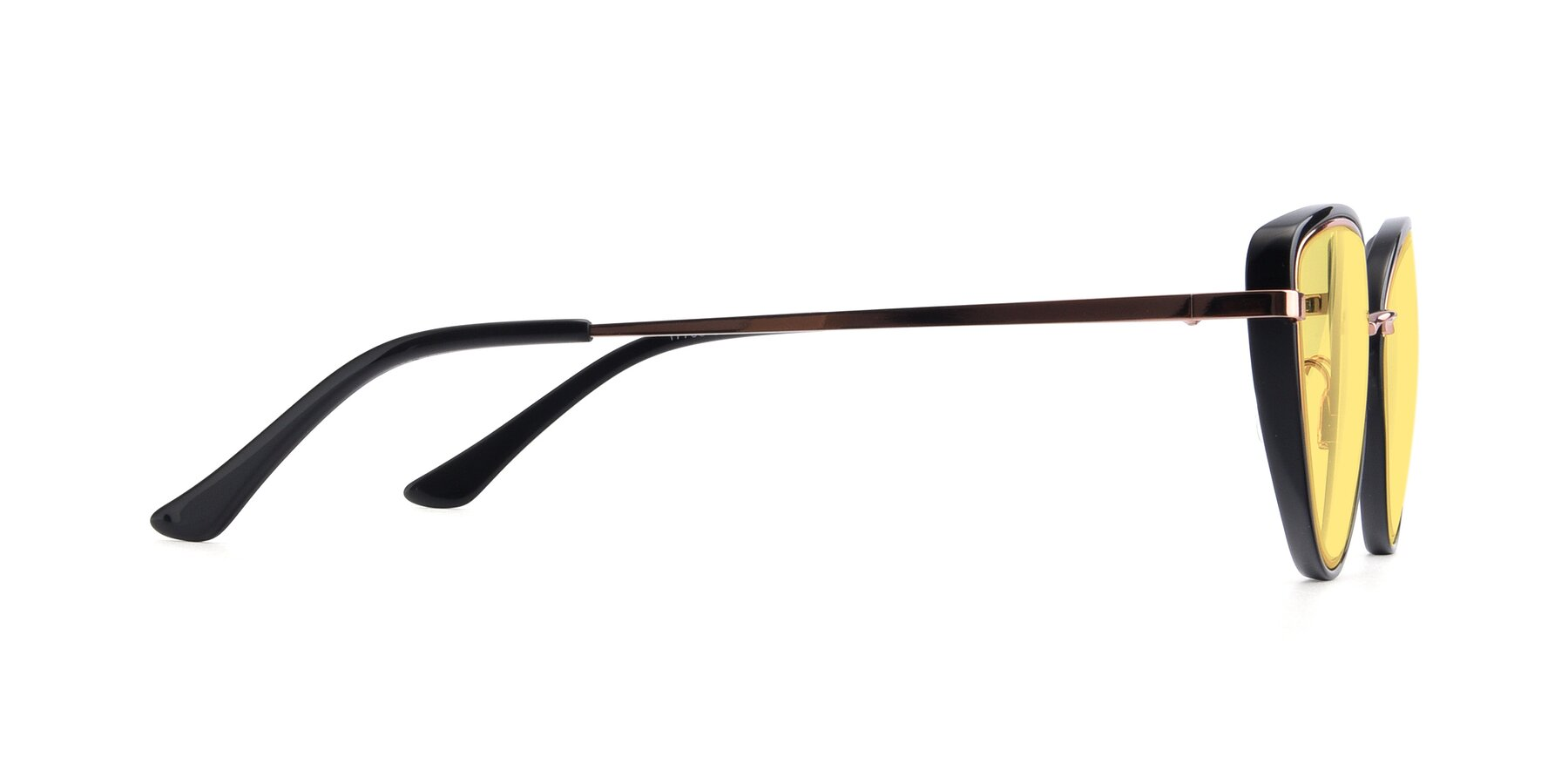 Side of 17706 in Black-Rose Gold with Medium Yellow Tinted Lenses