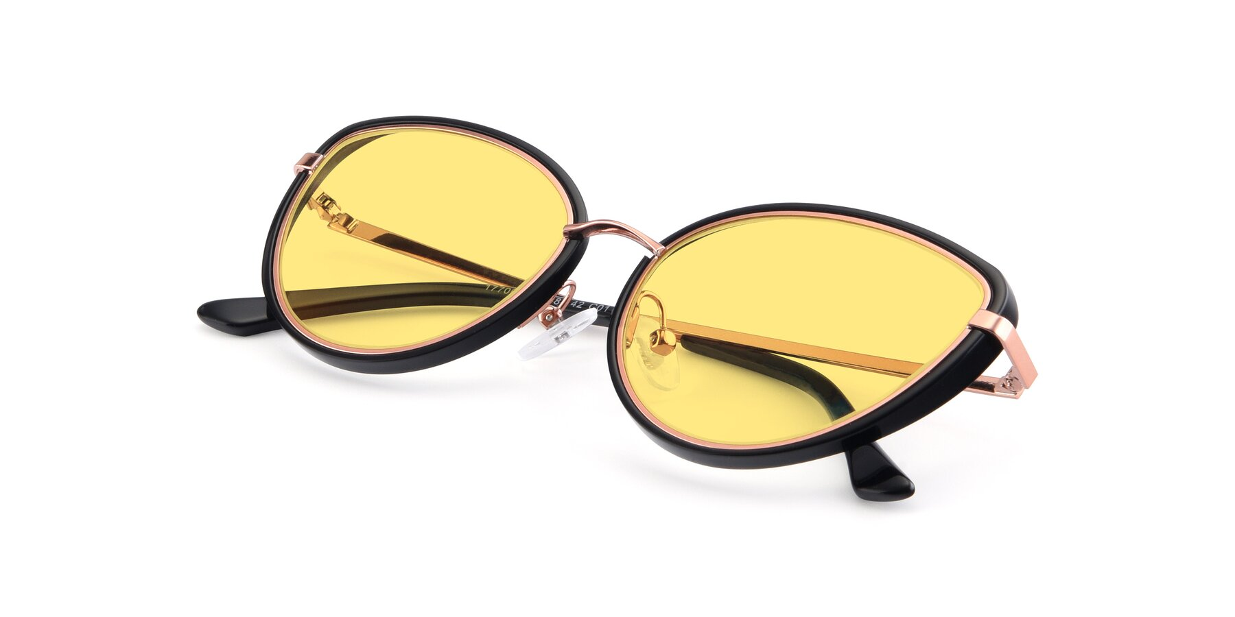 View of 17706 in Black-Rose Gold with Medium Yellow Tinted Lenses