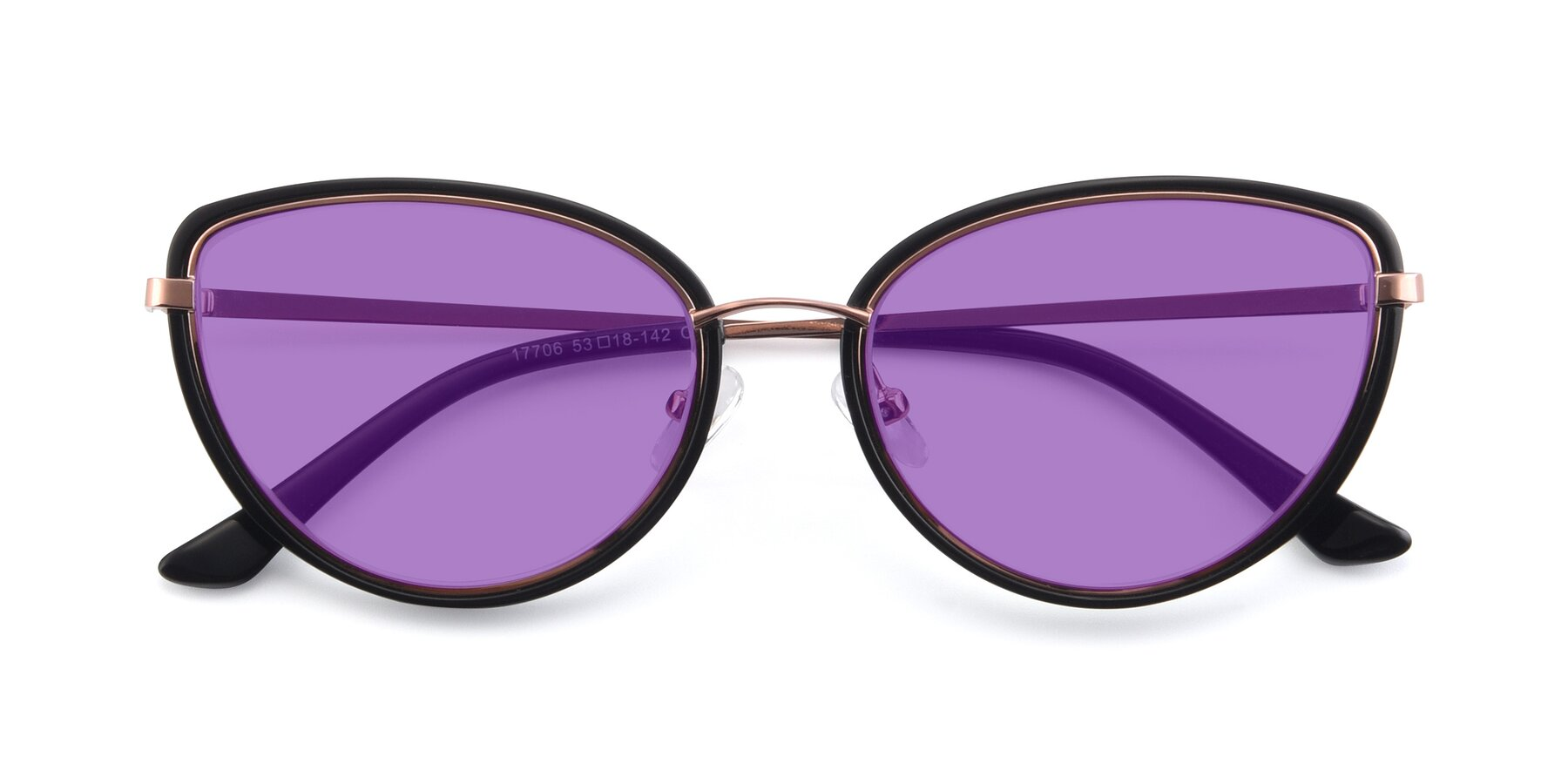 Folded Front of 17706 in Black-Rose Gold with Medium Purple Tinted Lenses