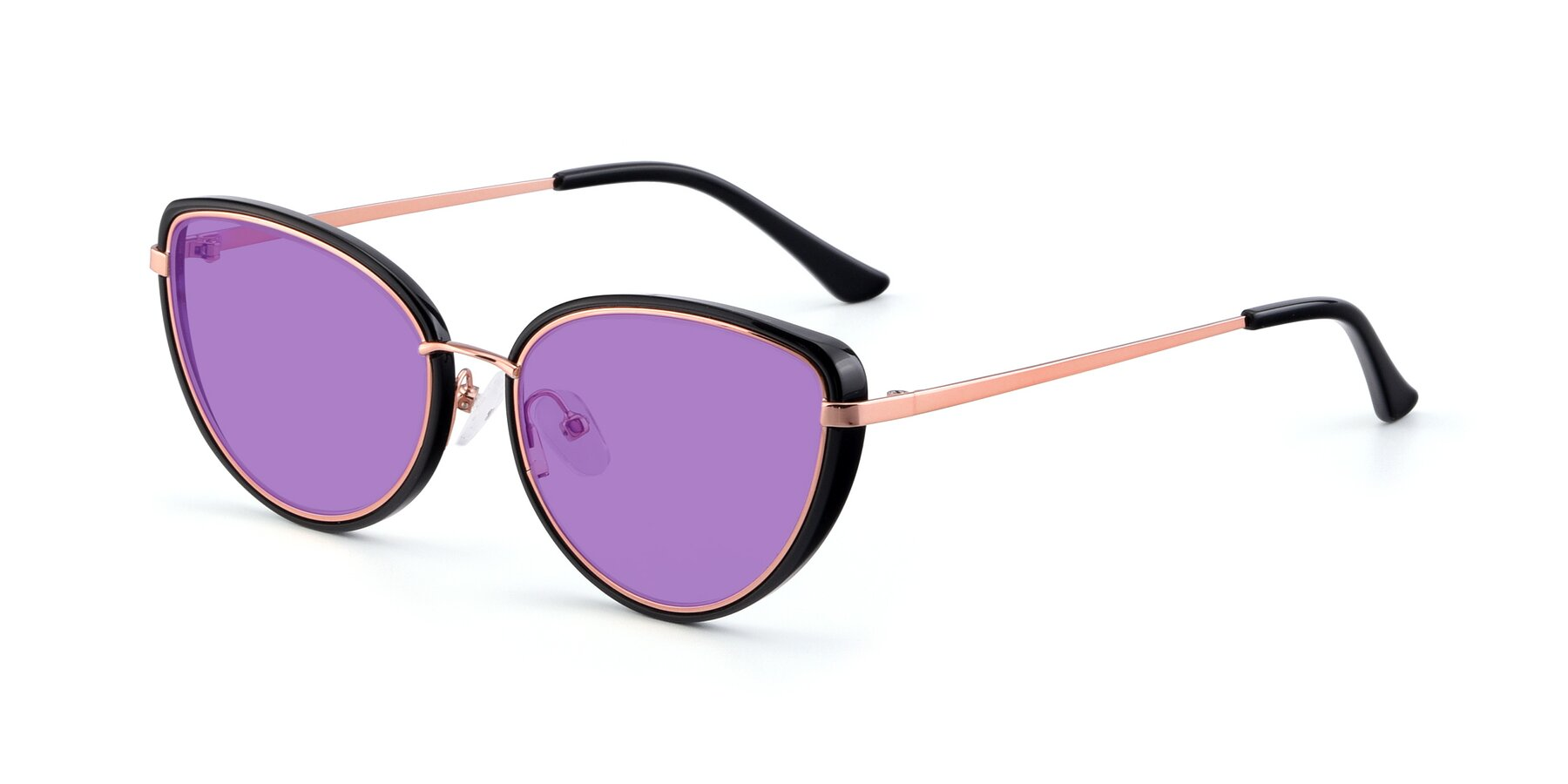 Angle of 17706 in Black-Rose Gold with Medium Purple Tinted Lenses