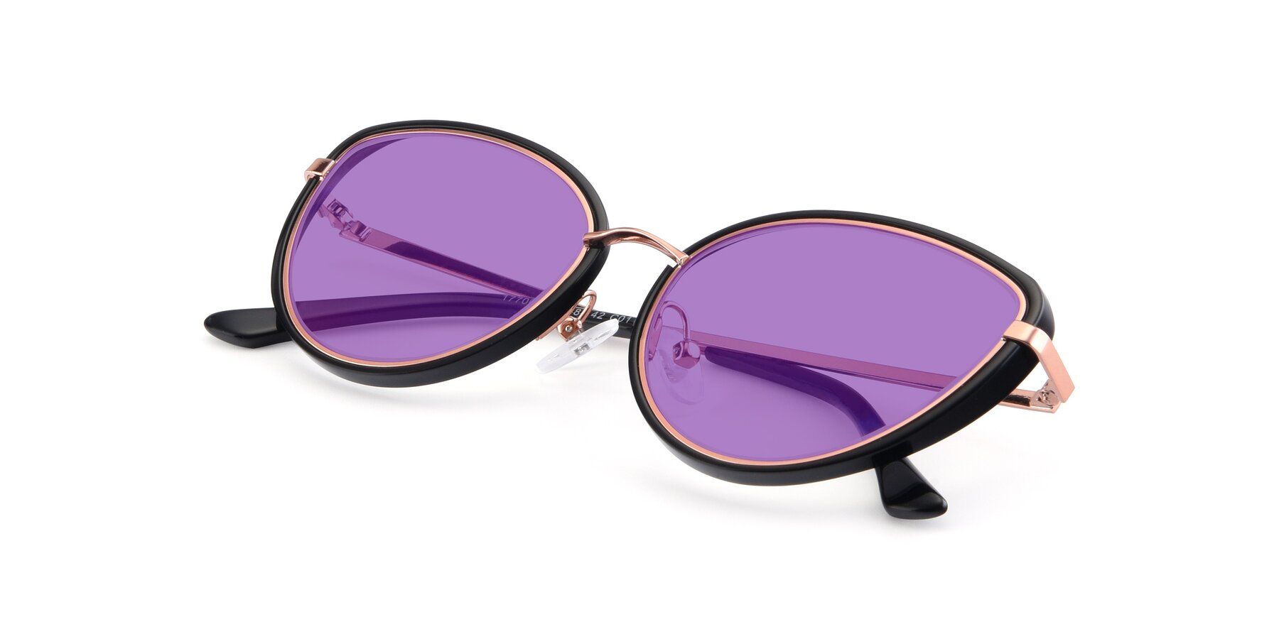 View of 17706 in Black-Rose Gold with Medium Purple Tinted Lenses