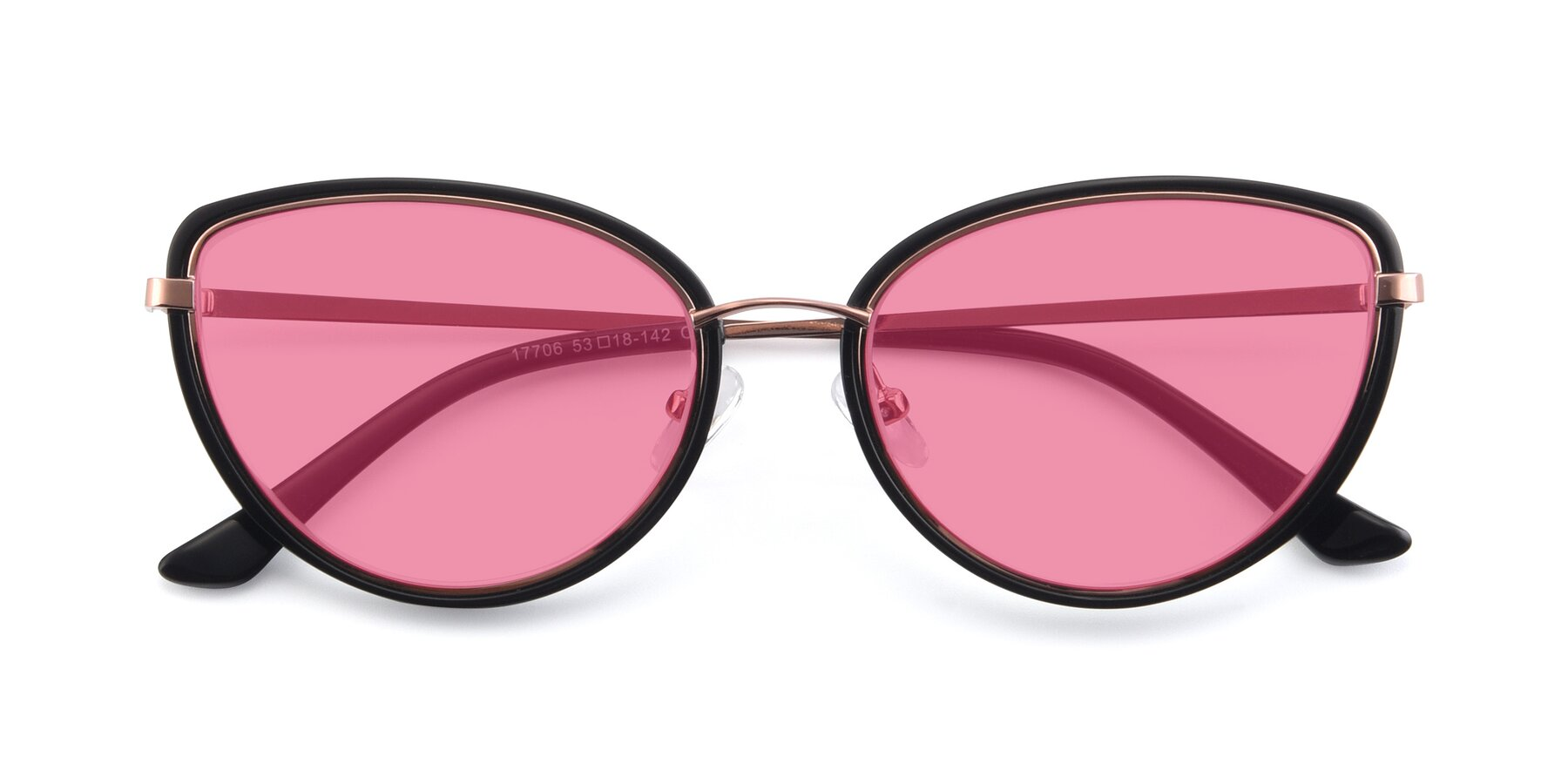Folded Front of 17706 in Black-Rose Gold with Pink Tinted Lenses