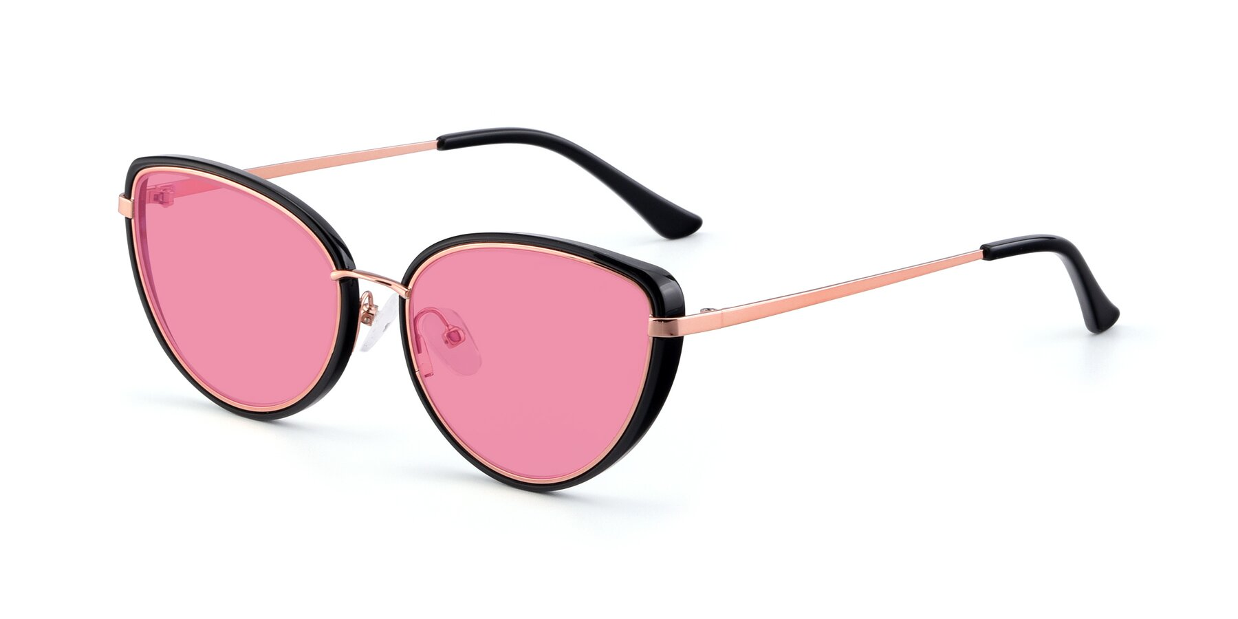 Angle of 17706 in Black-Rose Gold with Pink Tinted Lenses