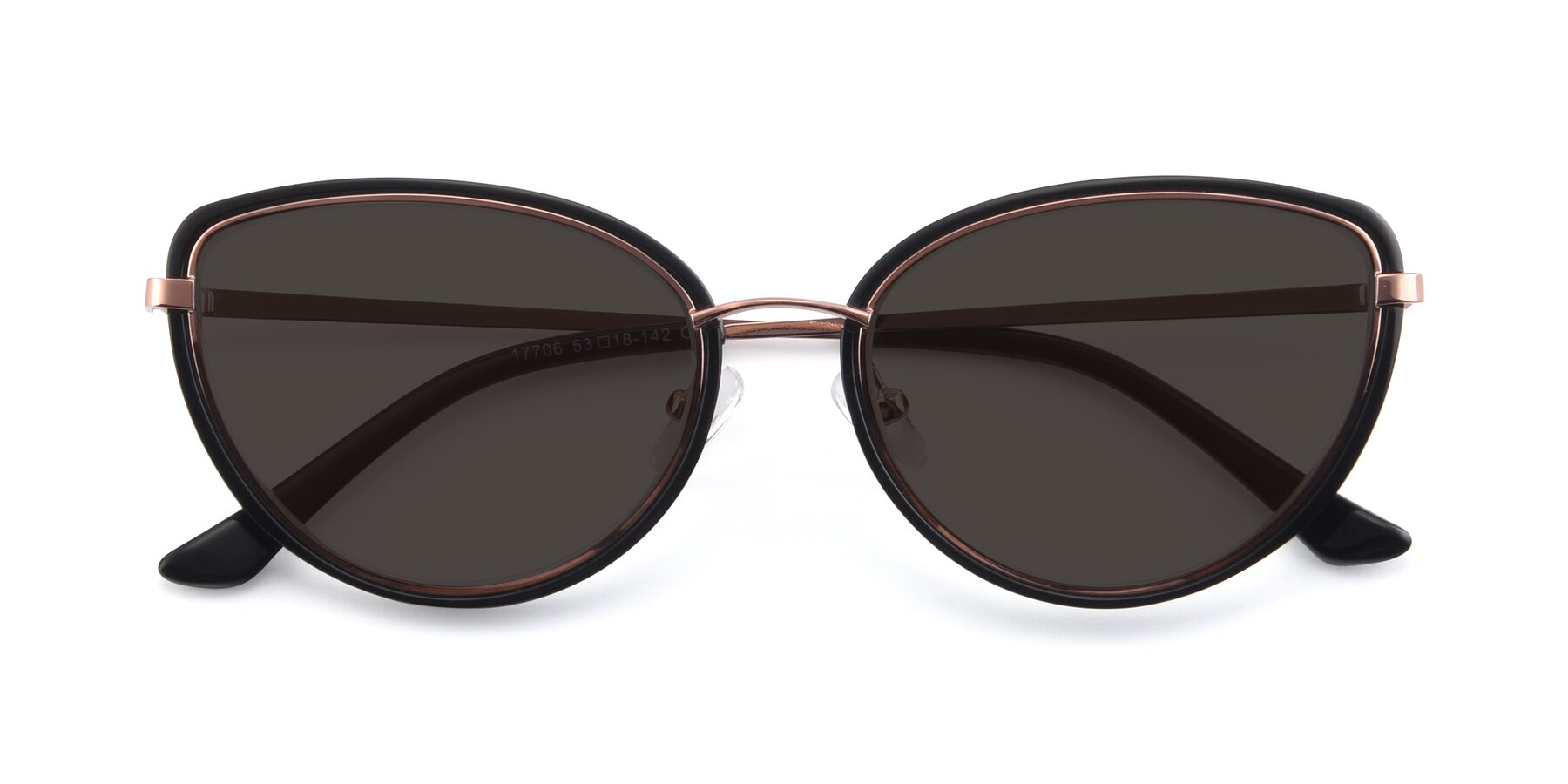 Folded Front of 17706 in Black-Rose Gold with Gray Tinted Lenses