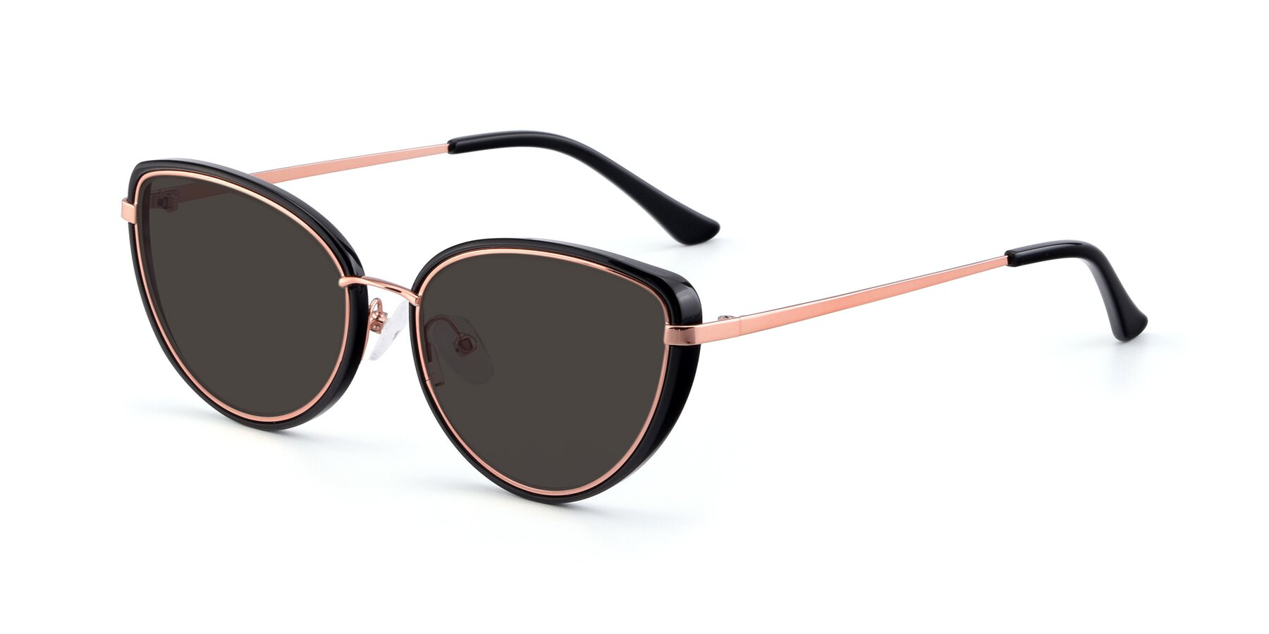 Angle of 17706 in Black-Rose Gold with Gray Tinted Lenses