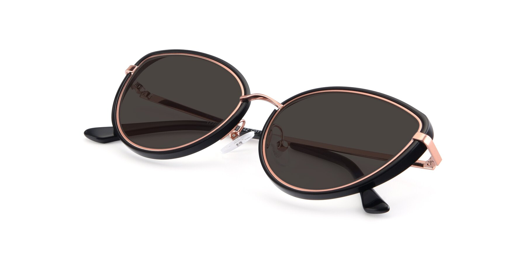 View of 17706 in Black-Rose Gold with Gray Tinted Lenses