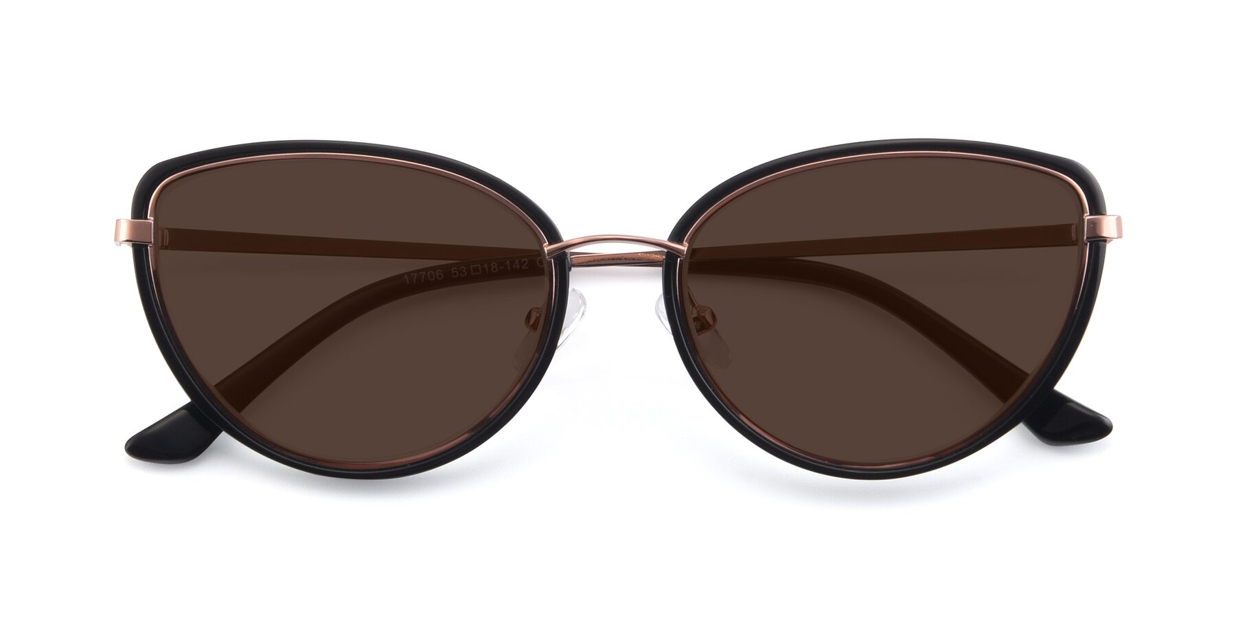 Folded Front of 17706 in Black-Rose Gold with Brown Tinted Lenses
