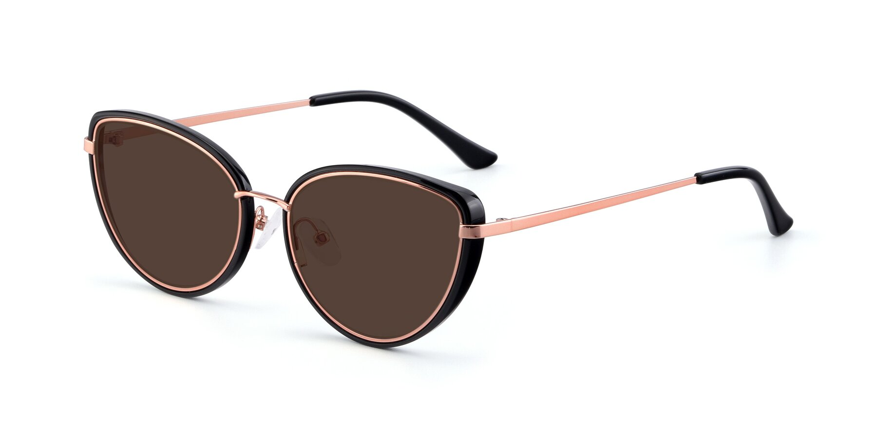 Angle of 17706 in Black-Rose Gold with Brown Tinted Lenses