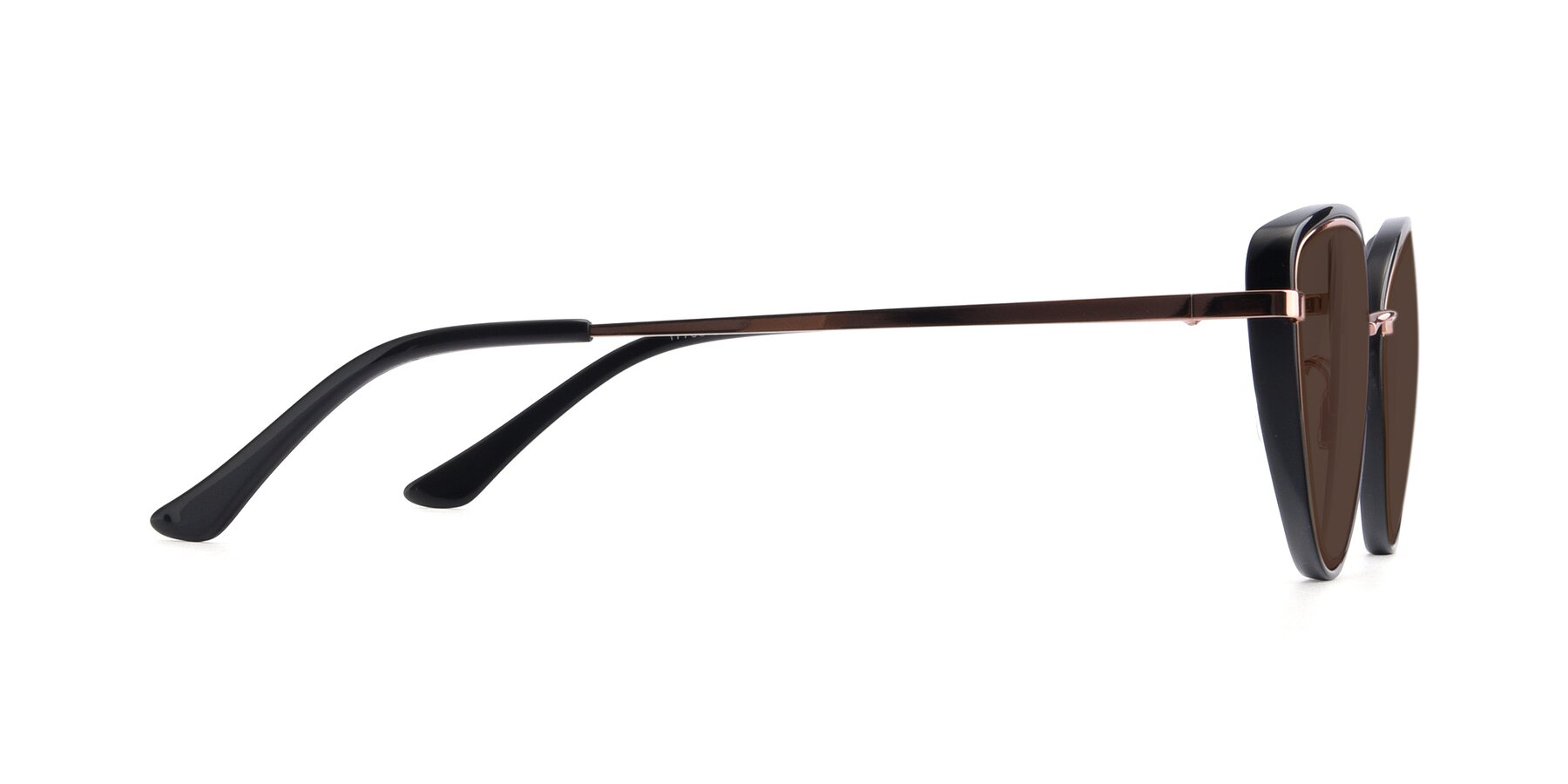 Side of 17706 in Black-Rose Gold with Brown Tinted Lenses